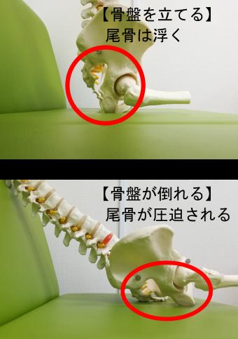 悪い姿勢をすると尾骨が座面に圧迫される